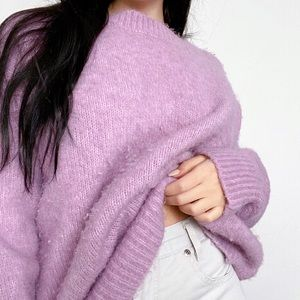 ZARA Periwinkle Fuzzy Pullover Sweater -Size M